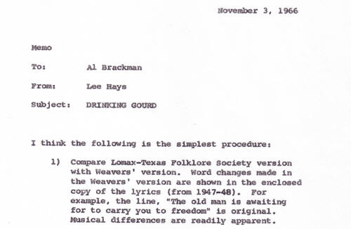 Drinking Gourd memo from Lee Hays to Al Brackman